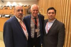 Con el diputado Carlos Vecchio y el ex presidente de Grecia Yorgos Papandreu, en Internacional Socialista