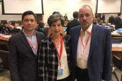 Junto a la diputada socialista Isabel Allende, en Reunión Internacional Socialista (NY - 2016)